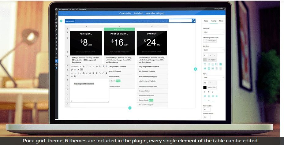 WP Table manager plugin