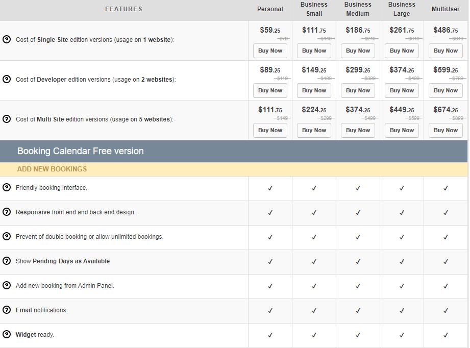 Booking calendar pricing