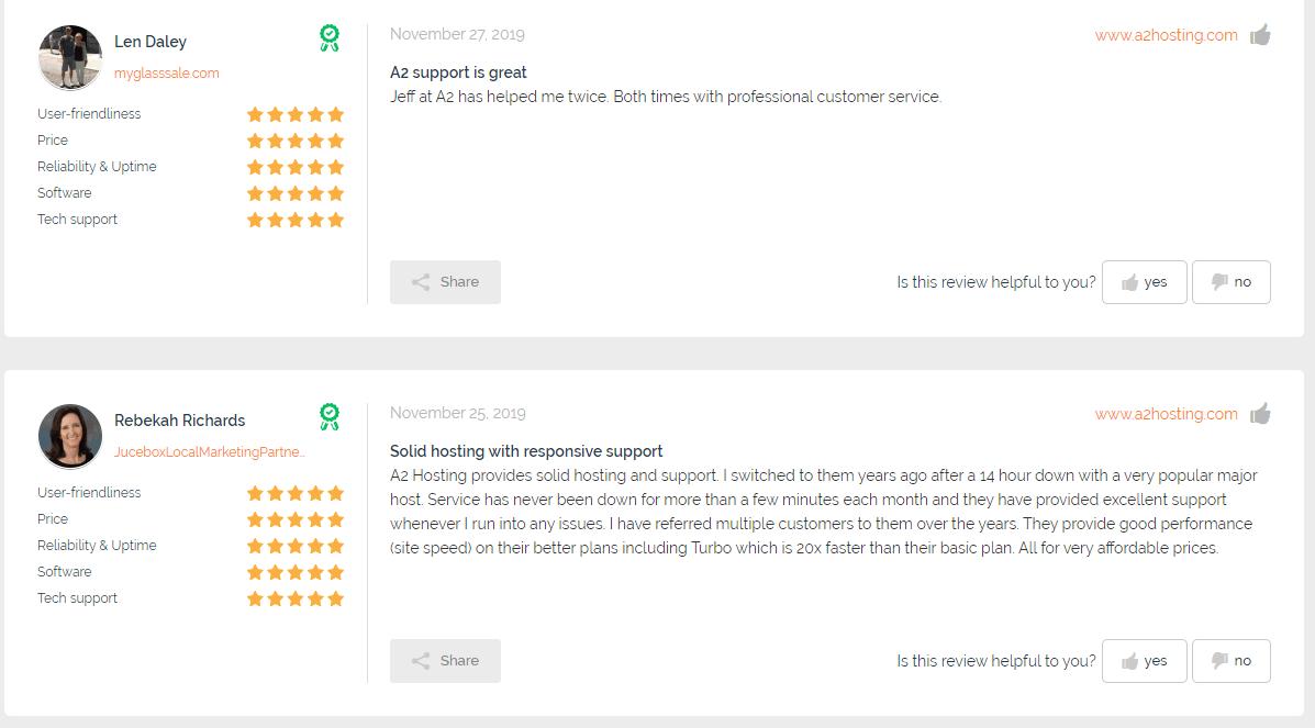 A2 hosting customer reviews