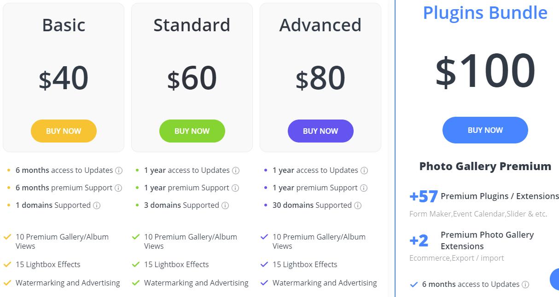 Photo Gallery Plugin pricing