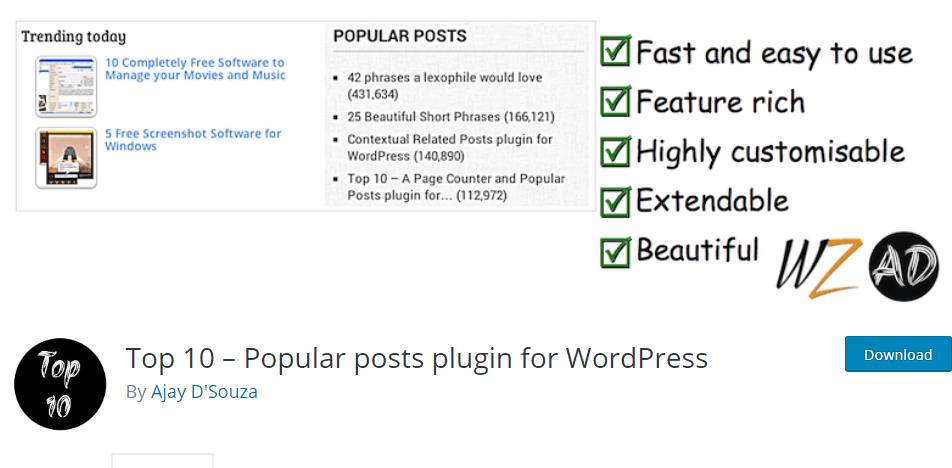 top 10 popular posts plugin