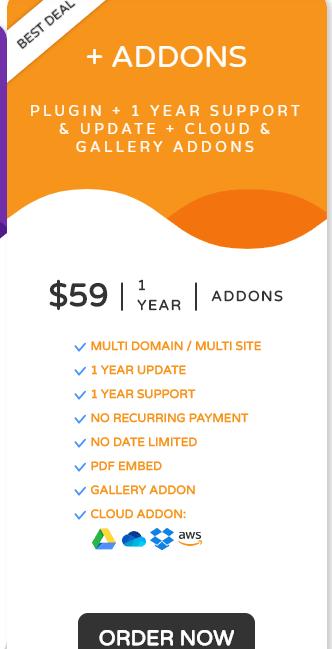WP media Folder gallery addon pricing
