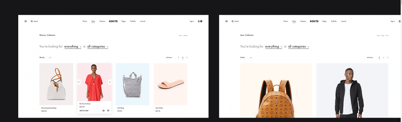 The shop page