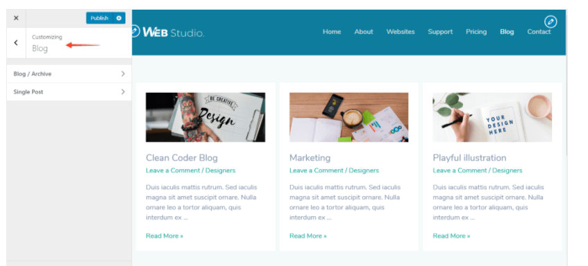 customize blog layout