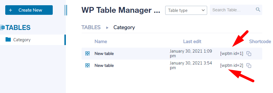 WP Table Manager Shortcode