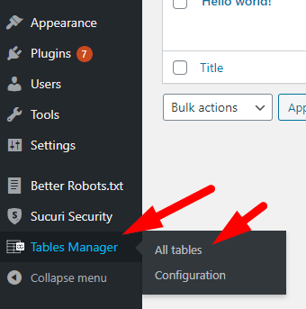 Tables Manager All Tables
