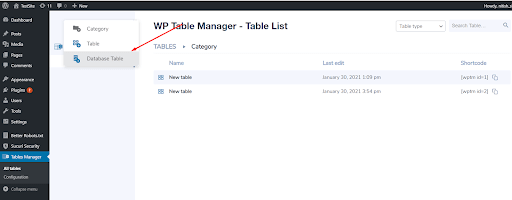 Create Tables From Database